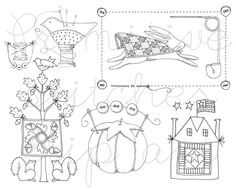 Quilt and sewing black and white clip art digital download. $15.00, via Etsy.