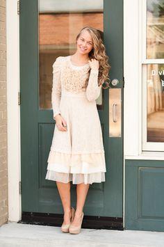 Dainty Jewell's Love and Lace Dress | www.daintyjewells.com | modest fashion - modest apparel - bridesmaid dresses - ruffles & lace