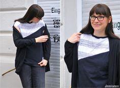 ännisews: Kirsten Kimono Tee trifft Ringelrest Kimono Tee, Serger Sewing, Knits, Ruffle Blouse, Blouses, Knitting, Blog, Inspiration, Tops