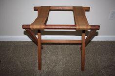 Vintage-Folding-Wood-Luggage-Rack-Burlap-Straps-Suitcase-Stand-Rustic-Cabin
