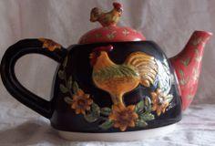 """4"""" Rooster Chicken Black Ceramic Tea Pot Leaf Flower Design Asian Influence"""
