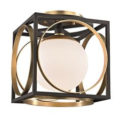 """View the Hudson Valley Lighting 5800 Wadsworth Single Light 10"""" Wide Semi Flush Ceiling Fixture with White Glass Shades at LightingShowplace.com."""