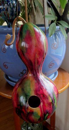 Birdhouse gourd handmade bird safe tie dye green by Buddistuff, $17.99