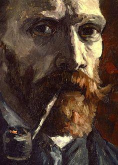 Vincent van Gogh, Self-portait with pipe (detail) on ArtStack #vincent-van-gogh #art