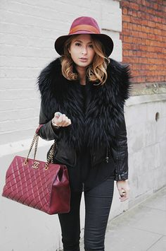 Millie Mackintosh in Prodiga Fur Leather Jacket http://www.prodiga.co.uk/clothing/jackets-coats/fur-collar-leather-jacket