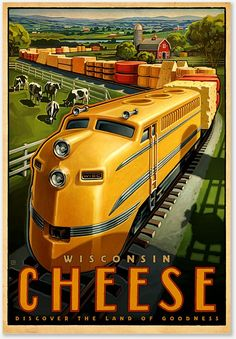 Railroading in Wisconsin: Vintage Travel Poster Retro Poster, Poster Ads, Advertising Poster, Tourism Poster, Train Posters, Railway Posters, Art Deco Posters, Cool Posters, Pub Vintage
