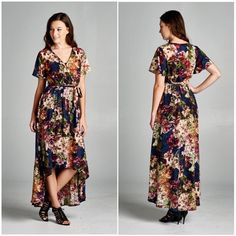 Vintage Style Wrap Maxi Dress Poly. Vintage. Floral. Navy. Crossover. Wrap. Maxi. Dress. Hi-Lo. Bohemian. Tua Dresses Maxi