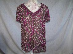 A. N. A Shirt Blouse Plus 1X Sheer Peasant Short Sleeves Elastic Neckline Womens #ana #Blouse #Casual