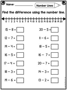 Number Line Addition and Subtraction-Distance Learning Packet First Grade - Modern Design Math Addition Worksheets, First Grade Math Worksheets, Free Math Worksheets, Subtraction Worksheets, 1st Grade Math, Kindergarten Worksheets, Number Line Subtraction, Addition And Subtraction, Decimal Number