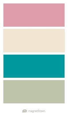 Blush, Champagne, Teal, and Sage Wedding Color Palette - custom color palette created at MagnetStreet.com