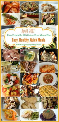 Need help with meal planing? Get our Free printable all gluten-free dinner menu calendar for April 2017. 30 delicious easy, healthy, quick meals for the family