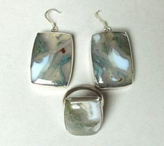 Large sterling ring and earrings, moss agate set from Jewellery by Zilvera - silver, stones and fun by DaWanda.com