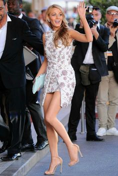 Blake Lively wearing Giambattista Valli Spring 2014 Couture Mini Dress, Stuart Weitzman Nudist Ankle-Strap Sandals in Fawn and Chanel Spring 2014 Clutch.