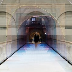 """London designers Laetitia de Allegri and Matteo Fogale installed a tinted tunnel at the V&A Museum for the London Design Festival. Entitled """"Mise-en-abyme"""", the installation. London Design Week, London Design Festival, V & A Museum, London Museums, London Bridge, Light Installation, Art Installations, Artistic Installation, Victoria And Albert Museum"""