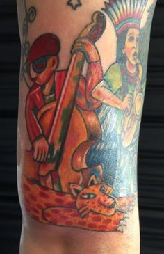 Colorful Music Scene by A.R.T. Graduate Oksana Weber. Click to learn more about how to become a tattoo artist.