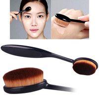 Mode Damen Pro Powder Foundation Make-up Pinsel Nylon Schwarz Curve Oval Make-up…