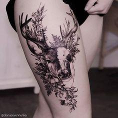 Tattoo Ideen Frauen - 30 Epic Tattoo Ideas For Woman - Tattoos - Frauen Animal Tattoos For Women, Sleeve Tattoos For Women, Women Sleeve, Arm Tattoos For Women Forearm, Unique Animal Tattoos, Hip Tattoos Women, Bull Skull Tattoos, Body Art Tattoos, Deer Antler Tattoos