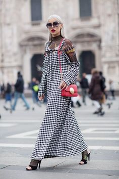 MFW Day Samurai Tattoos and Gingham Patterns - Alina Ceusan Samurai Tattoo, Spring Photos, Vintage Couture, Lovely Dresses, Fall Looks, Second Skin, Maxi Dresses, What I Wore, Gingham