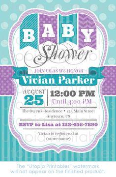 Teal Purple Baby Shower Invitation Chevron by UtopiaPrintables