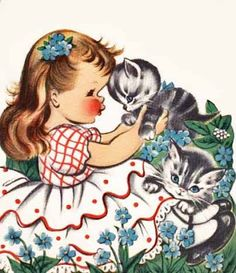 Reminds me of my very first  birthday card.   This is so darling! Love the vintage kitten.