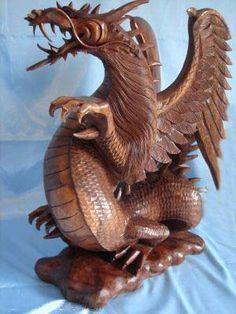 Dragon Statue - Suar Oakwood - Handcrafted