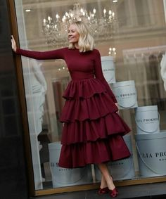 Burgundy Long Sleeves Prom Dress with Layered Skirt 1239 - Renee Marino Prom Dresses Muslim Fashion, Modest Fashion, Fashion Dresses, Elegant Dresses, Cute Dresses, Casual Dresses, Hijab Dress Party, Prom Dresses Long With Sleeves, Layered Skirt