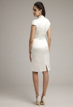 Destination Wedding Dress: Short Sweetheart Surplus Satin Wedding Dress from Camille La Vie and Group USA