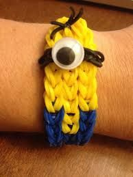 Minion Rainbow Loom bracelet. You could probably make this design into an evil minion.