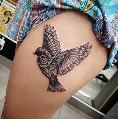 Mandala Ornamental Bird Tattoo