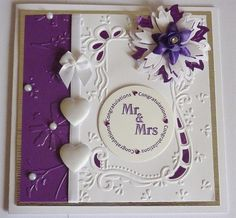 Mrs & Mrs Wedding Card Wedding Day Cards, Wedding Anniversary Cards, Scrapbook Cards, Scrapbooking, Anniversary Crafts, Marianne Design Cards, Shabby Chic Cards, Embossed Cards, Beautiful Handmade Cards
