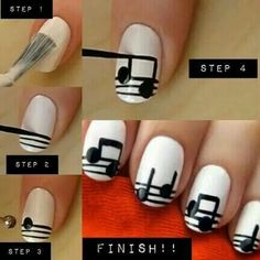 Appealing DIY Musical Notes Nail Art Design With Simple Tutorial And Black White Color Scheme