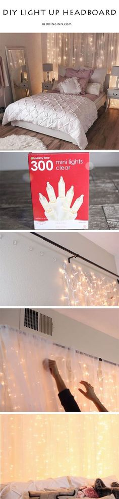 5 mins to create a dreamy light up headboard.If you want to turn your room into a romantic retreat,just try this way! #homedecor #DIY
