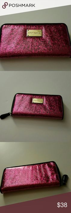 Betsey Johnson pink sparkle zip around wallet Great used condition  So adorable and sparkly Lots of inside compartments Smoke free home Betsey Johnson Bags Wallets