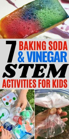 Do you need some fun STEM activities for kids? Here are 7 baking soda and vinegar STEM activities to help teach kids about chemistry and chemical reactions! All of these are great learning activities for kids of all ages to explore science in a hands on way. Kids Learning Activities, Stem Activities, Teaching Kids, Educational Activities, Summer Activities, Cool Science Experiments, Science For Kids, Baking Soda Vinegar, Chemical Reactions