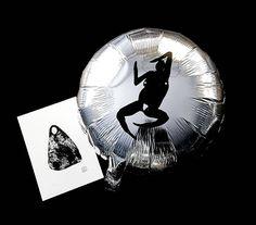Good morning!! Silver screen printed balloon and original monoprint package…