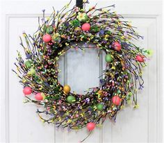 Spring Wreath - Mini Window Wreath - Farmhouse Easter Wreath - Easter Egg Wreath - Primitive Wreath - Easter Home Decor - Easter Candle Ring by Designawreath on Etsy