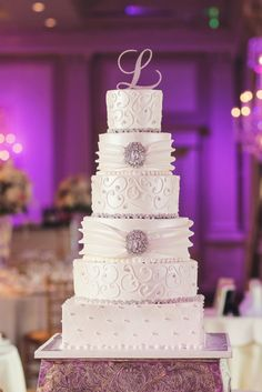 Photo: Vanessa Joy; Bride Wears Ysa Makino Couture to Glitzy New Jersey Wedding - wedding cake idea