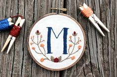 Custom Monogram. Embroidery Hoop Art. Needlepoint. Hand Embroidery. Home Decor. Initial. Wall Art. Fabric Art. Wall Hanging. Stitched Art.