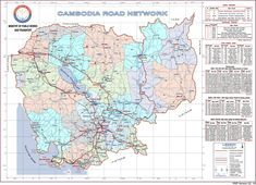 Brought to you by The Ministry of Public Works and Transport – A tidy (high-resolution) map of the National and Provincial roads of Cambodia. Found at Royal Railway, Cambodia. Kampong Cham, National Road, Kampot, Cambodia, Ministry, Transportation, It Works, Public, Roads