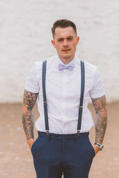 98cef815c45 Bow Tie Braces Groom Tattoos Quirky Country Barn Wedding Pug Dog  http   aledgarfieldphotography