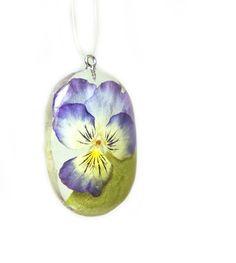 Flower Pendant - Real Flower Jewelry - Viola Jewelry -