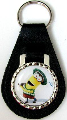 Minions Kevin Golf Black Genuine Leather Key Fob Chain Steel Ring FOB-0246