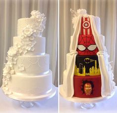 Stunning two-face wedding cake makes both comic book fan groom and traditional bride happy as a pair of newlyweds! #wedding #cake #events Superhero Wedding Cake, Superhero Cake, Avengers Wedding, Marvel Wedding Theme, Batman Wedding, Perfect Wedding, Our Wedding, Dream Wedding, Trendy Wedding