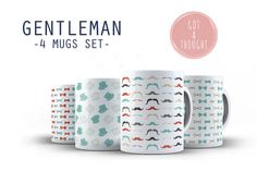 GENTLEMAN 4 mugs set decorated mugs with mustaches by GotAThought