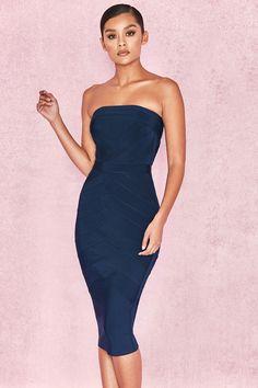 Clothing : Bandage Dresses : 'Amoura' Midnight Blue Strapless Bandage Midi Dress