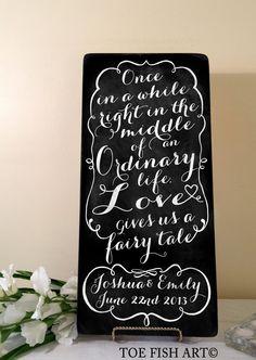 Chalkboard Faiy Tale Wedding Sign by ToeFishArt