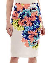 Worthington Scuba Knit Print Pencil Skirt #blue #coral #white #skirt #fashion #floral