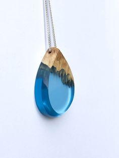 Wood and Resin Necklace Teardrop Blue Pendant by OceanBlissDesign