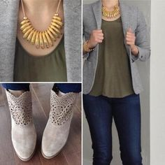 Am loving the feminine touches in my #ootd today with the lace leather booties in taupe, and the gold necklace which I #diy 'd myself!!  The colour palette is all about spring right now with the mix of taupe, gold and anything but black and charcoal grays which I have been living in lately. #ootd #fashion #streetfashion #streetphotography #styleinspiration #outfitoftheday #wiwt #whatiworetoday #instastyle #instafashion #outfitinspiration #styleiswhat #fashiondaily #fashionaddict…