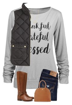 """""""Not sure about this one..."""" by preppyandsouthern17 ❤ liked on Polyvore featuring J.Crew, Hollister Co., Jennifer Zeuner and Tory Burch"""